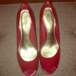 Michelle D red open toe pumps